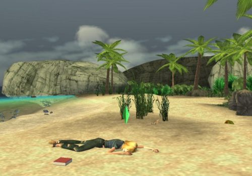 Image of a shipwrecked Sim in The Sims 2 Castaway